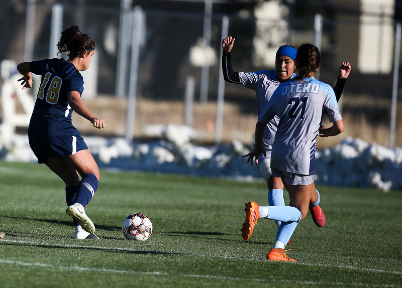 LCCC midfielder Christina De Andres takes the ball for a breakaway goal Saturday, October 12, 2019 at Laramie County Community College. The Laramie County Community College girls soccer team defeated the Otero Junior College team 3-0. Nadav Soroker/Wyoming Tribune Eagle