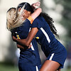 LCCC forward Faith Meredith hugs forward Beyonce Robinson after scoring a goal Saturday, October 12, 2019 at Laramie County Community College. The Laramie County Community College girls soccer team defeated the Otero Junior College team 3-0. Nadav Soroker/Wyoming Tribune Eagle