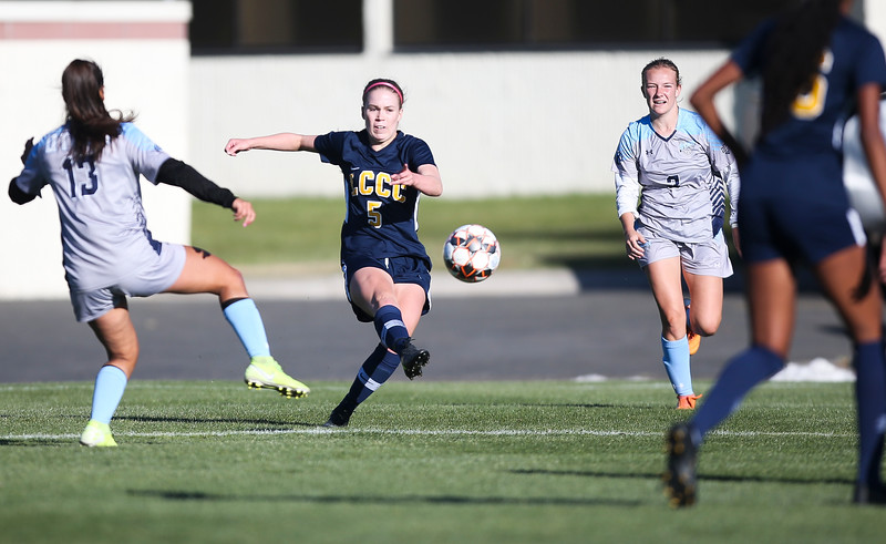 LCCC forward Darby Whiteley kicks the ball Saturday, October 12, 2019 at Laramie County Community College. The Laramie County Community College girls soccer team defeated the Otero Junior College team 3-0. Nadav Soroker/Wyoming Tribune Eagle