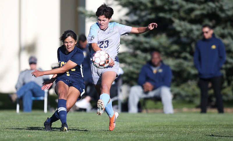 LCCC midfield/forward Thalita Portela Faria kicks the ball Saturday, October 12, 2019 at Laramie County Community College. The Laramie County Community College girls soccer team defeated the Otero Junior College team 3-0. Nadav Soroker/Wyoming Tribune Eagle