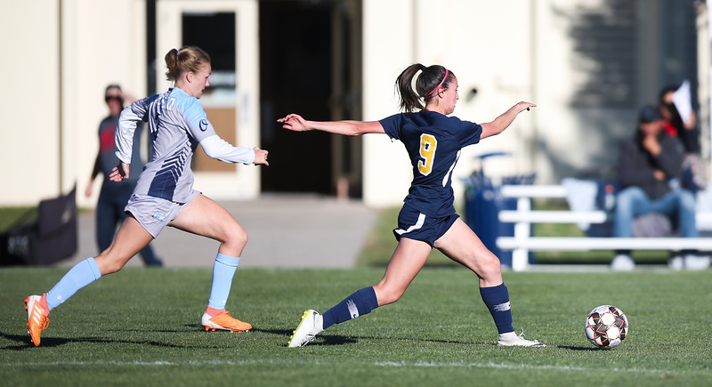 LCCC midfield/forward Agree Hill kicks the ball Saturday, October 12, 2019 at Laramie County Community College. The Laramie County Community College girls soccer team defeated the Otero Junior College team 3-0. Nadav Soroker/Wyoming Tribune Eagle