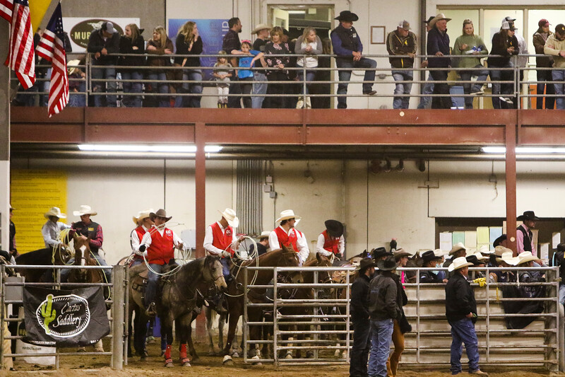 Cowboys and spectators wait for the next round of action to start in the Shawn Dubie Memorial Rodeo Saturday, October 12, 2019 at the  Laramie County Community College Arena. Nadav Soroker/Wyoming Tribune Eagle