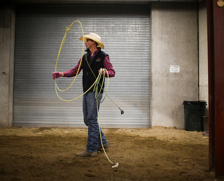 Danny Goold practices with his lariat before the start of the Shawn Dubie Memorial Rodeo Saturday, October 12, 2019 at the  Laramie County Community College Arena. Goold competes in tie-down roping and team roping for LCCC. Nadav Soroker/Wyoming Tribune Eagle
