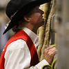 A cowboy talks to a fellow through the chutes in the Shawn Dubie Memorial Rodeo Saturday, October 12, 2019 at the  Laramie County Community College Arena. Nadav Soroker/Wyoming Tribune Eagle