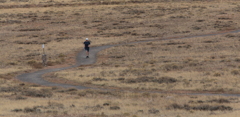 Doug Baker runs along the Jacoby Ridge Trail Wednesday, October 16, 2019 in Laramie. Baker runs the trail regularly to keep in shape for local mountain races like the Jelm Mountain Run, Silent Trails Memorial and Pilot Hill 25k. Nadav Soroker/Laramie Boomerang