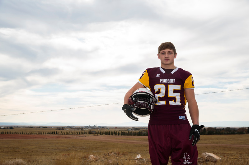 Colter Nunn, a running back for the Laramie High School Plainsmen, poses for a portrait Thursday, October 17, 2019 at Deti Stadium. Nadav Soroker/Laramie Boomerang
