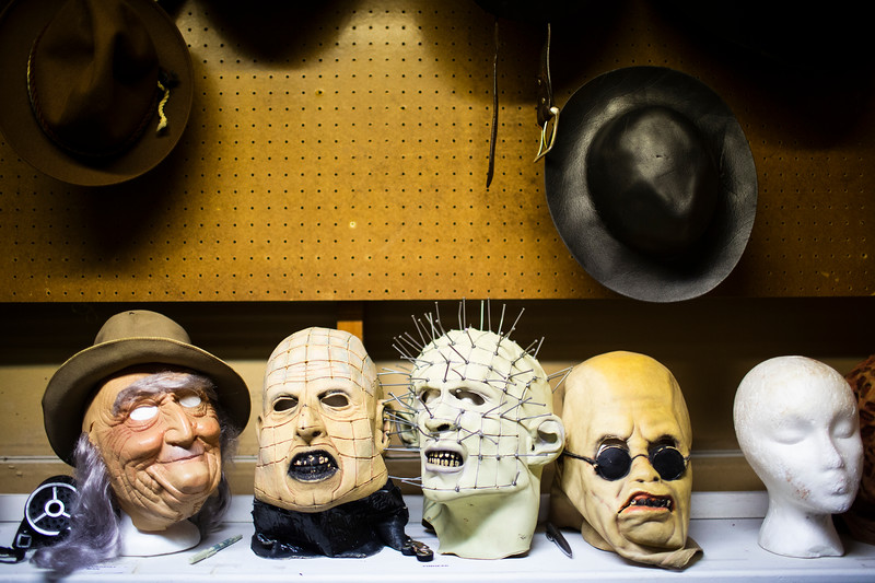 Unused masks wait on dummies behind the scenes of the Nightmare on 17th Street haunted house, Friday, Oct. 18, 2019 at the Knights of Pythias building. The haunted house is in its 31st year of scaring for charity. Nadav Soroker/Wyoming Tribune Eagle