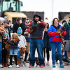 Tanner Balcaen, center, points the way towards victory for Lulu (who didn't win) at the Dogtoberfest Weiner Dog race, Saturday, Oct. 19, 2019 at Freedom's Edge Brewing Company. Nadav Soroker/Wyoming Tribune Eagle