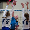 East senior Madison Blaney (12) attempts to spike the ball over the net Saturday, Oct. 19, 2019 at the Thunderdome. The Cheyenne East High School Lady Thunderbirds volleyball lost to the Thunder Basin Lady Bolts in four sets. Nadav Soroker/Wyoming Tribune Eagle