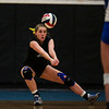 East senior Sloane Danni catches a low receive Saturday, Oct. 19, 2019 at the Thunderdome. The Cheyenne East High School Lady Thunderbirds volleyball lost to the Thunder Basin Lady Bolts in four sets. Nadav Soroker/Wyoming Tribune Eagle