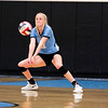 East senior Madison Blaney (12) receives the ball Saturday, Oct. 19, 2019 at the Thunderdome. The Cheyenne East High School Lady Thunderbirds volleyball lost to the Thunder Basin Lady Bolts in four sets. Nadav Soroker/Wyoming Tribune Eagle
