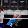 East senior Makylee Buell (13) celebrates a kill Saturday, Oct. 19, 2019 at the Thunderdome. The Cheyenne East High School Lady Thunderbirds volleyball lost to the Thunder Basin Lady Bolts in four sets. Nadav Soroker/Wyoming Tribune Eagle