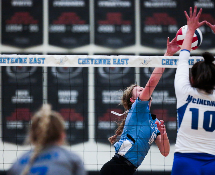 East junior Hailey Marshall (16) tips the ball over the net Saturday, Oct. 19, 2019 at the Thunderdome. The Cheyenne East High School Lady Thunderbirds volleyball lost to the Thunder Basin Lady Bolts in four sets. Nadav Soroker/Wyoming Tribune Eagle