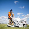 Kerry Seid, with Cheyenne Recreation and Events, repaints the lines on the soccer fields Monday, Oct. 21, 2019 at North Cheyenne Community Park. Seid repaints the lines about once a week until the end of the soccer season in early November. Nadav Soroker/Wyoming Tribune Eagle