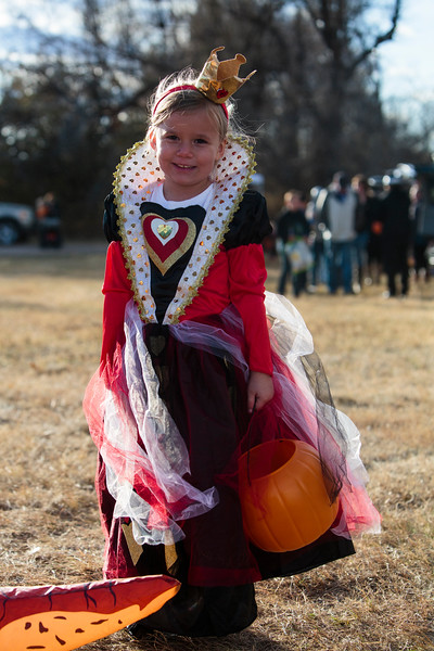 Lauryn Neville, 5, the Queen of Hearts, waits in line for candy at the Cheyenne Small Business Trunk or Treat Thursday, Oct. 24, 2019 on Wallick Road. Nadav Soroker/Wyoming Tribune Eagle