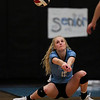 East senior Madison Blaney (12) receives a serve Thursday, Oct. 24, 2019 in the Thunderdome. Cheyenne East volleyball defeated Cheyenne South in straight sets. Nadav Soroker/Wyoming Tribune Eagle
