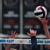 Cheyenne East and South players battle for the ball at the net Thursday, Oct. 24, 2019 in the Thunderdome. Cheyenne East volleyball defeated Cheyenne South in straight sets. Nadav Soroker/Wyoming Tribune Eagle