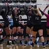 Cheyenne South players cheer a kill Thursday, Oct. 24, 2019 in the Thunderdome. Cheyenne East volleyball defeated Cheyenne South in straight sets. Nadav Soroker/Wyoming Tribune Eagle