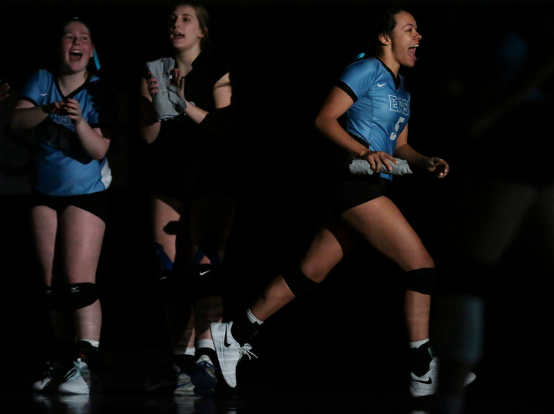 East senior Erianna Standifer (5) runs onto the court during team introductions Thursday, Oct. 24, 2019 in the Thunderdome. Cheyenne East volleyball defeated Cheyenne South in straight sets. Nadav Soroker/Wyoming Tribune Eagle