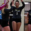 South sophomore Kayla Lesh (5) cheers with her teammates after a block Thursday, Oct. 24, 2019 in the Thunderdome. Cheyenne East volleyball defeated Cheyenne South in straight sets. Nadav Soroker/Wyoming Tribune Eagle