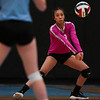 South sophomore Reyna Tover (33) receives a serve  Thursday, Oct. 24, 2019 in the Thunderdome. Cheyenne East volleyball defeated Cheyenne South in straight sets. Nadav Soroker/Wyoming Tribune Eagle