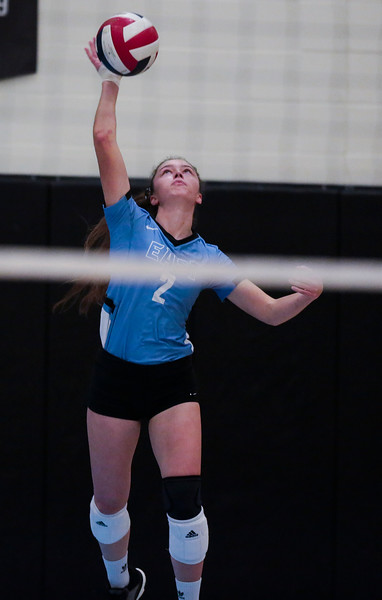 East senior Shae Halls (2) serves to Cheyenne South Thursday, Oct. 24, 2019 in the Thunderdome. Cheyenne East volleyball defeated Cheyenne South in straight sets. Nadav Soroker/Wyoming Tribune Eagle
