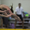 Katie McPherson leaves the block during the start of the 200 Yard Freestyle Relay at the West Conference regional swimming championships Friday, Oct. 25, 2019 at the Laramie High School Natatorium. Nadav Soroker/Laramie Boomerang
