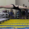 Olivia McPherson dives in as the final member of the 200 Yard Freestyle Relay at the West Conference regional swimming championships Friday, Oct. 25, 2019 at the Laramie High School Natatorium. Nadav Soroker/Laramie Boomerang