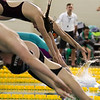 Madie Jablin leaves the block at the start of her heat in the 500 Yard Freestyle prelims in the West Conference regional swimming championships Friday, Oct. 25, 2019 at the Laramie High School Natatorium. Nadav Soroker/Laramie Boomerang
