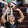 Cheyenne East senior Makylee Buell (13) sets the ball for a teammate Friday, Oct. 25, 2019 at the Laramie High School Gymnasium. The Laramie High School Lady Plainsmen host the Cheyenne East High School Lady Thunderbirds. Nadav Soroker/Laramie Boomerang
