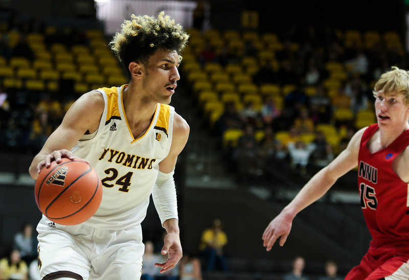 Wyoming's Hunter Maldonado looks for an opening Wednesday, Oct. 30, 2019 at Arena-Auditorium. The Cowboys defeated the Northwest Nazarene Nighthawks 62-56 in their exhibition game. Nadav Soroker/Laramie Boomerang