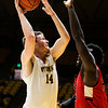 Wyoming's Austin Mueller tries for a shot Wednesday, Oct. 30, 2019 at Arena-Auditorium. The Cowboys defeated the Northwest Nazarene Nighthawks 62-56 in their exhibition game. Nadav Soroker/Laramie Boomerang