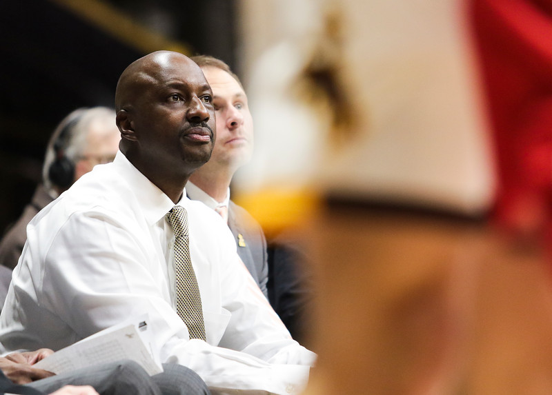 Wyoming head coach Allen Edwards watches a shot Wednesday, Oct. 30, 2019 at Arena-Auditorium. The Cowboys defeated the Northwest Nazarene Nighthawks 62-56 in their exhibition game. Nadav Soroker/Laramie Boomerang
