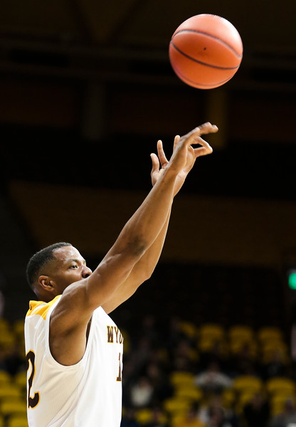 Wyoming's Greg Milton III takes a shot Wednesday, Oct. 30, 2019 at Arena-Auditorium. The Cowboys defeated the Northwest Nazarene Nighthawks 62-56 in their exhibition game. Nadav Soroker/Laramie Boomerang