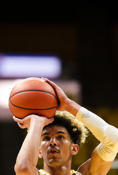 Wyoming's Hunter Maldonado lines up a shot Wednesday, Oct. 30, 2019 at Arena-Auditorium. The Wyoming Cowboys basketball team hosts the Northwest Nazarene Nighthawks for an exhibition match. Nadav Soroker/Laramie Boomerang