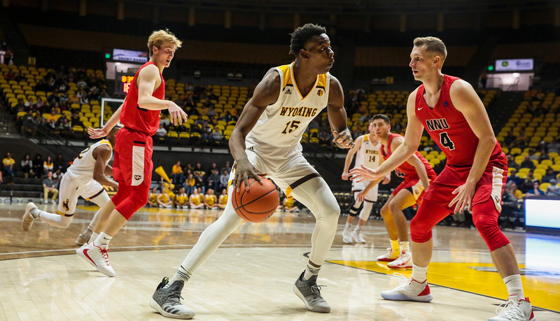 Wyoming's Tyler Morman tries to make his way inside Wednesday, Oct. 30, 2019 at Arena-Auditorium. The Cowboys defeated the Northwest Nazarene Nighthawks 62-56 in their exhibition game. Nadav Soroker/Laramie Boomerang