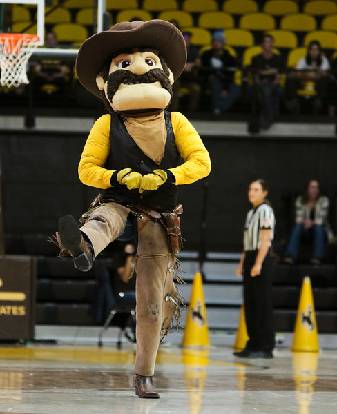Pistol Pete dances to Cotton Eye Joe during a time-out Friday, Nov. 1, 2019 at Arena-Auditorium. The Wyoming Cowgirls host the Adams State Grizzlies for the season's opening exhibition match. Nadav Soroker/Laramie Boomerang