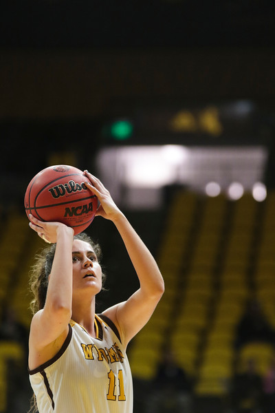 Cowgirls' Alba Sanchez Ramos lines up for a shot from the free throw line Friday, Nov. 1, 2019 at Arena-Auditorium. The Wyoming Cowgirls host the Adams State Grizzlies for the season's opening exhibition match. Nadav Soroker/Laramie Boomerang