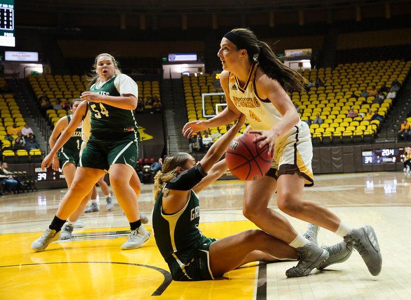 Cowgirls' Taylor Rusk fights past a Grizzlies' player Friday, Nov. 1, 2019 at Arena-Auditorium. The Wyoming Cowgirls host the Adams State Grizzlies for the season's opening exhibition match. Nadav Soroker/Laramie Boomerang