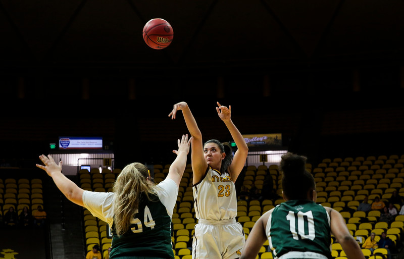 Cowgirls' Jaeden Vaifanua attempts a shot Friday, Nov. 1, 2019 at Arena-Auditorium. The Wyoming Cowgirls host the Adams State Grizzlies for the season's opening exhibition match. Nadav Soroker/Laramie Boomerang