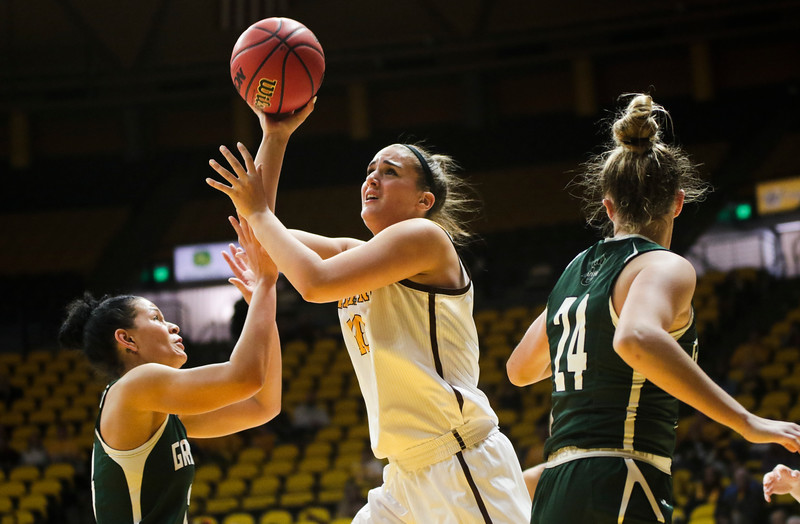 Cowgirls' Selale Kepenc takes her shot Friday, Nov. 1, 2019 at Arena-Auditorium. The Wyoming Cowgirls host the Adams State Grizzlies for the season's opening exhibition match. Nadav Soroker/Laramie Boomerang