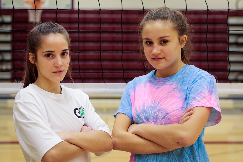Laramie High School volleyball players Halley Feezer and Taylor Tyser Monday, Nov. 4, 2019 at the Laramie High Gymnasium. Nadav Soroker/Laramie Boomerang