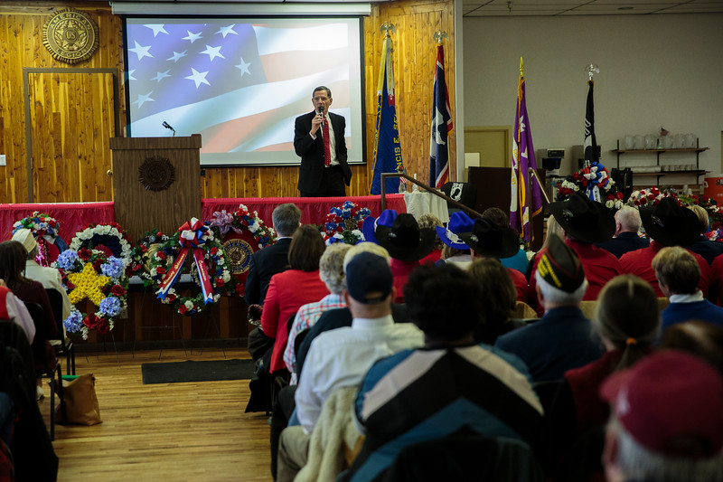 Senator John Barrasso speaks at the Cheyenne Veterans Day Ceremonies Monday, Nov. 11, 2019 at American Legion Post 6. Nadav Soroker/Wyoming Tribune Eagle