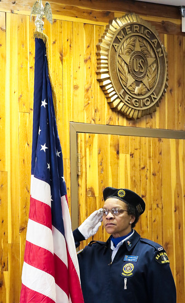 Veronica Bowen, a member of the American Legion Post 6 color guard, salutes the flag during the national anthem as Cheyenne celebrates Veterans Day Monday, Nov. 11, 2019 at American Legion Post 6. Nadav Soroker/Wyoming Tribune Eagle