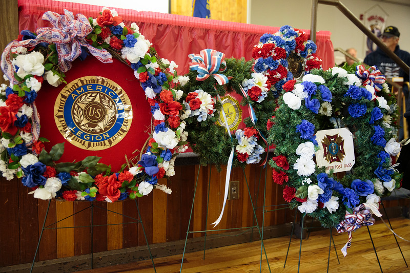 Wreathes decorate the stage as Cheyenne celebrates Veterans Day Monday, Nov. 11, 2019 at American Legion Post 6. Nadav Soroker/Wyoming Tribune Eagle