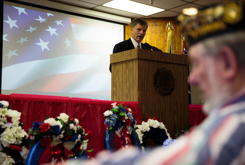 Gov. Mark Gordon speaks at the Cheyenne Veterans Day Ceremonies Monday, Nov. 11, 2019 at American Legion Post 6. Nadav Soroker/Wyoming Tribune Eagle
