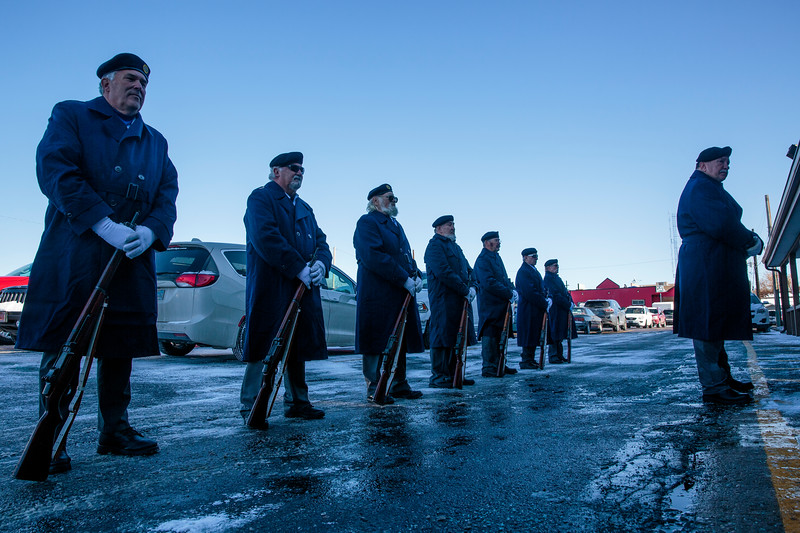 The American Legion Post 6 honor guard stands ready for instructions from Bruce Koerwitz, right, outside of the Cheyenne Veterans Day Ceremonies Monday, Nov. 11, 2019 at American Legion Post 6. Nadav Soroker/Wyoming Tribune Eagle