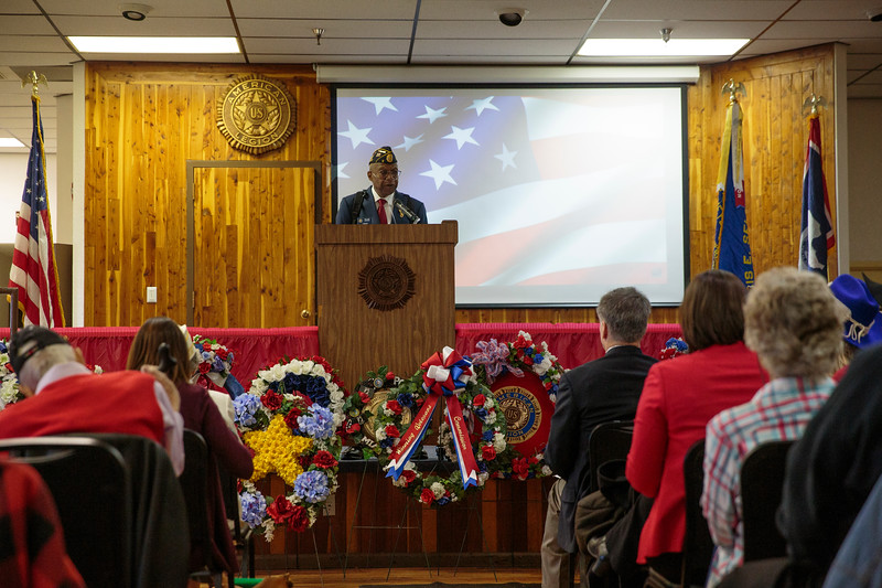 Post 6 Commander William Barnes delivers the opening speech as Cheyenne celebrates Veterans Day Monday, Nov. 11, 2019 at American Legion Post 6. Nadav Soroker/Wyoming Tribune Eagle