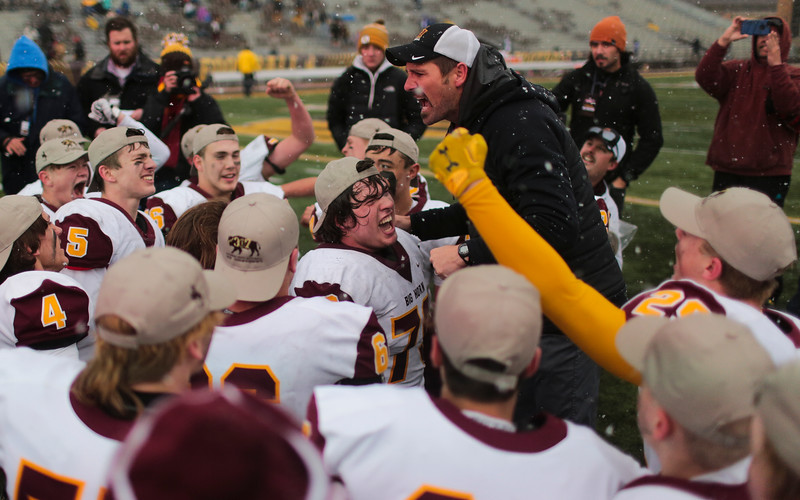 Big Horn players cheer as the coach praises them Saturday, Nov. 16, 2019 at War Memorial Stadium. Cokeville takes on Big Horn in the WHSAA 1A Championship match. Nadav Soroker/Wyoming Tribune Eagle