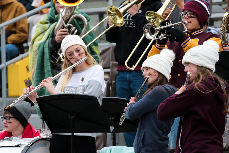 Big Horn's band plays in the bleachers Saturday, Nov. 16, 2019 at War Memorial Stadium. Cokeville takes on Big Horn in the WHSAA 1A Championship match. Nadav Soroker/Wyoming Tribune Eagle
